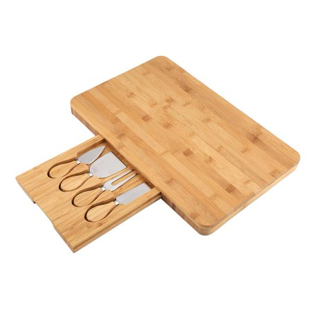 WALFRONT Bamboo Cheese Board With Cutlery In Slide-Out Drawer Charcuterie Platter & Serving Tray for Wine, Crackers, Brie and