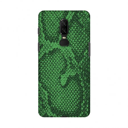 OnePlus 6 Case - Snakes - Grass Green Skin, Hard Plastic Back Cover, Slim Profile Cute Printed Designer Snap on Case with Screen Cleaning Kit