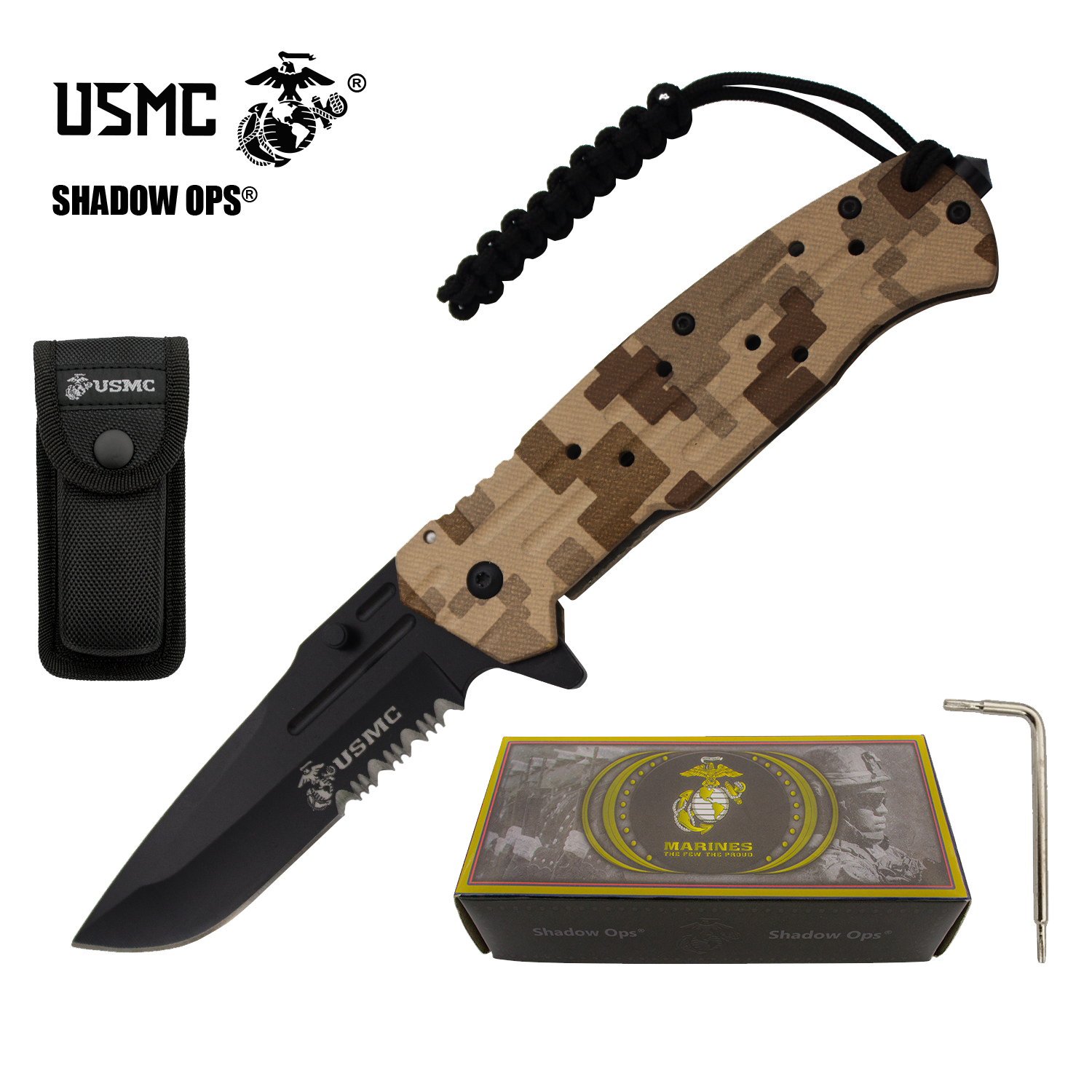 "9"" USMC Officially Licensed US Marines Desert Camo Ball Bearing Action Blade Tactical Rescue Pocket Knife Belt Case"