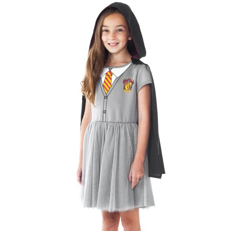 girls harry potter gryffindor costume dress w cape halloween cosplay