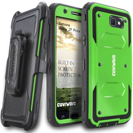 Samsung Galaxy J7 Prime Case, COVRWARE [Aegis Series] w/ Built-in [Screen Protector] Heavy Duty Full-Body Rugged Holster Armor Case [Belt Swivel Clip][Kickstand] For J7 Prime (2017), Green