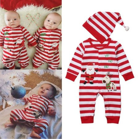 Xmas Toddler Baby Boy Girl Romper Bodysuit Playsuit Jumpsuit+ Hat Clothes Outfit for $<!---->