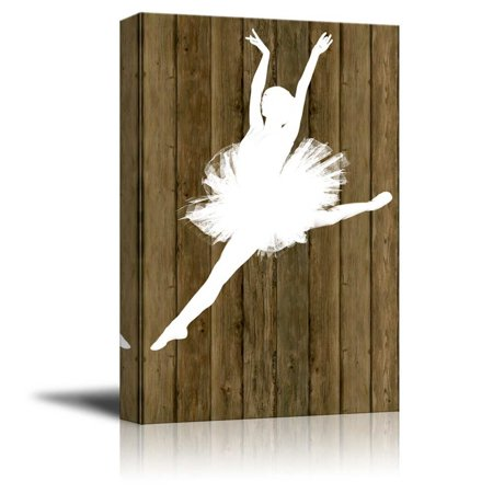 wall26 Ballet Dancing Canvas Wall Art - White Ballet Dancer Silhouette on Rustic Wood Background - Stretched Gallery Wrap Ready to Hang Home Decoration - 32x48 - Dancers Silhouette