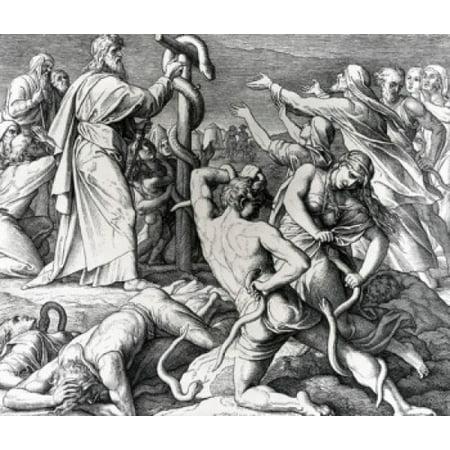 - Moses Heals Afflicted Israelites with Brazen Serpent by Julius Schnorr von Carolsfeld illustration (1794-1872) Stretched Canvas - Julius Schnorr von Carolsfeld (18 x 24)