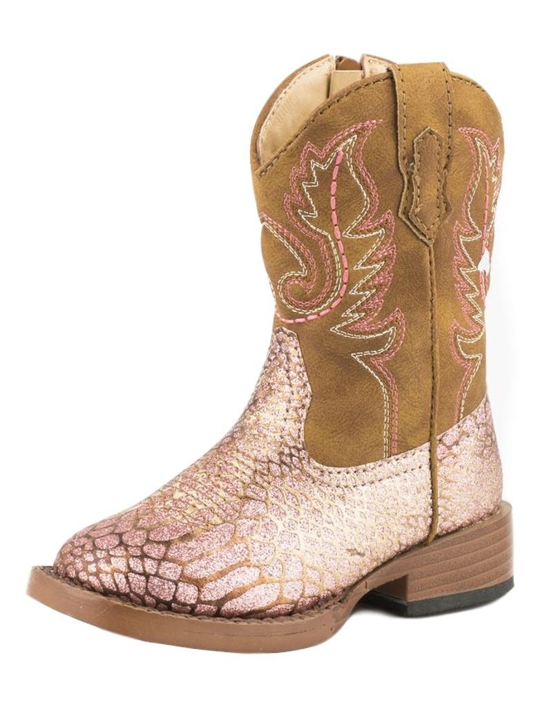 Roper Western Boots Girls Glitz Ostrich Pink 09-017-1901-0995 PI