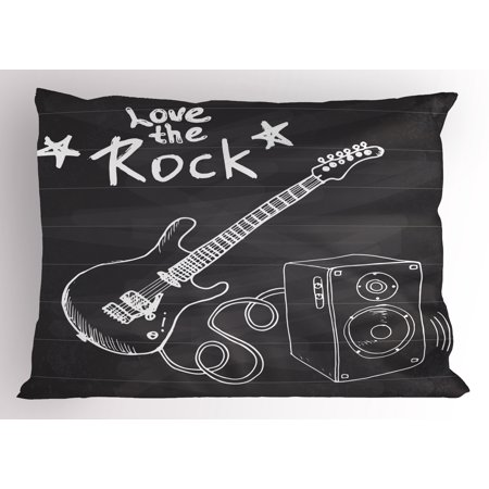 Guitar Pillow Sham Love The Rock Music Themed Sketch Art Sound Box and Text on Chalkboard Print, Decorative Standard Queen Size Printed Pillowcase, 30 X 20 Inches, Dark Taupe White, by Ambesonne
