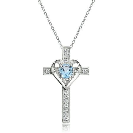 Sterling Silver Blue Topaz and White Topaz Heart Cross Birthstone Pendant Necklace Purple Murano Heart Pendant