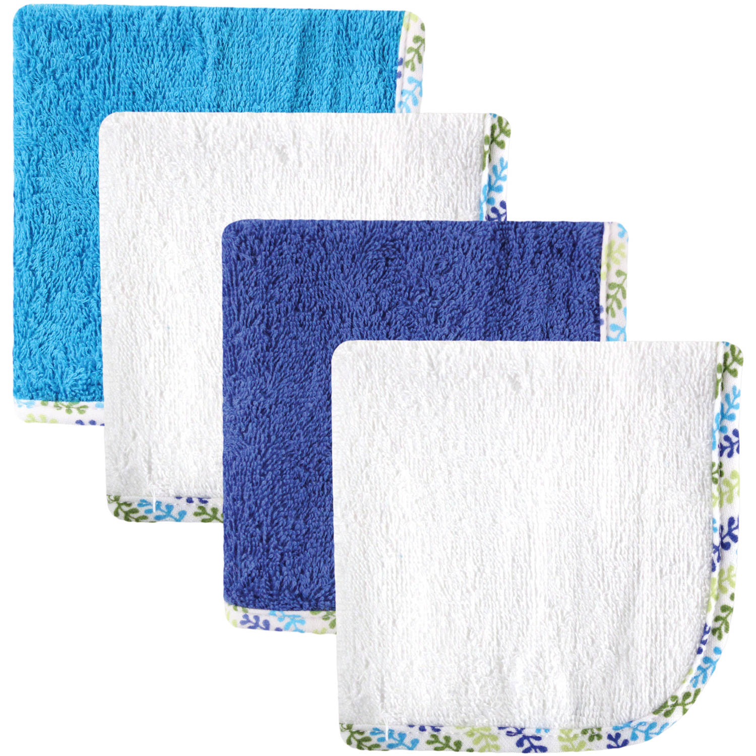 Hudson Baby Woven Washcloth, Blue White, 4 Pack