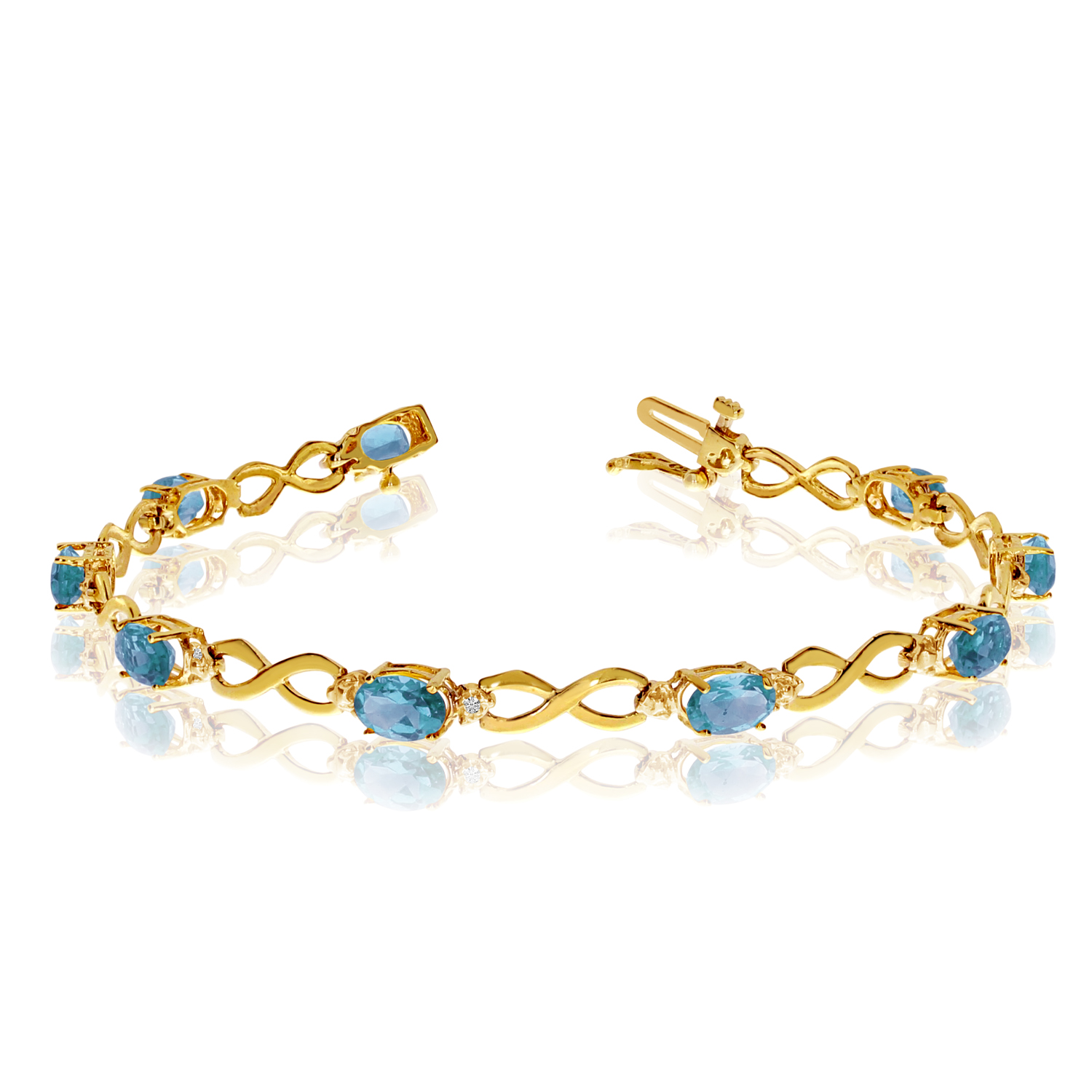 10K Yellow Gold Oval Blue Topaz and Diamond Bracelet by LCD
