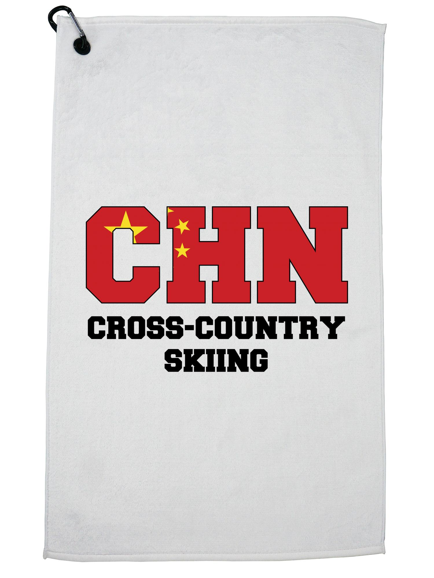 Chinese Cross-Country Skiing Winter Olympic CHN Flag Golf Towel with Carabiner Clip by Hollywood Thread