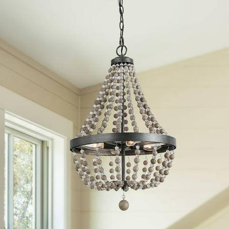 4-Light Wood Beads Chandelier Lighting Wagon Wheel -