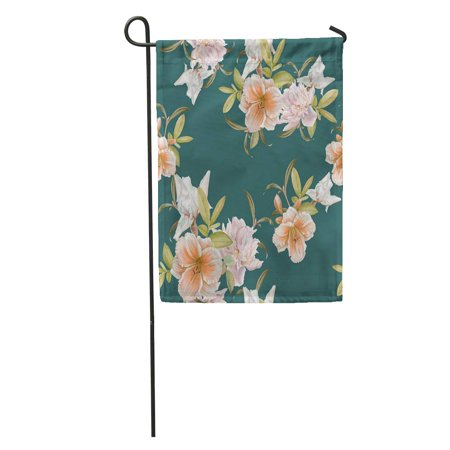JSDART Green Pattern Floral Lily Peony Iris Watercolor Flower Bloom Blossom Garden Flag Decorative Flag House Banner 12x18 inch - image 1 of 1