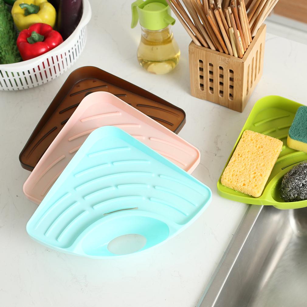 Trigonometry Shelf Kitchen Sink Dish Drain Rack Bathroom Soap Sponge ...