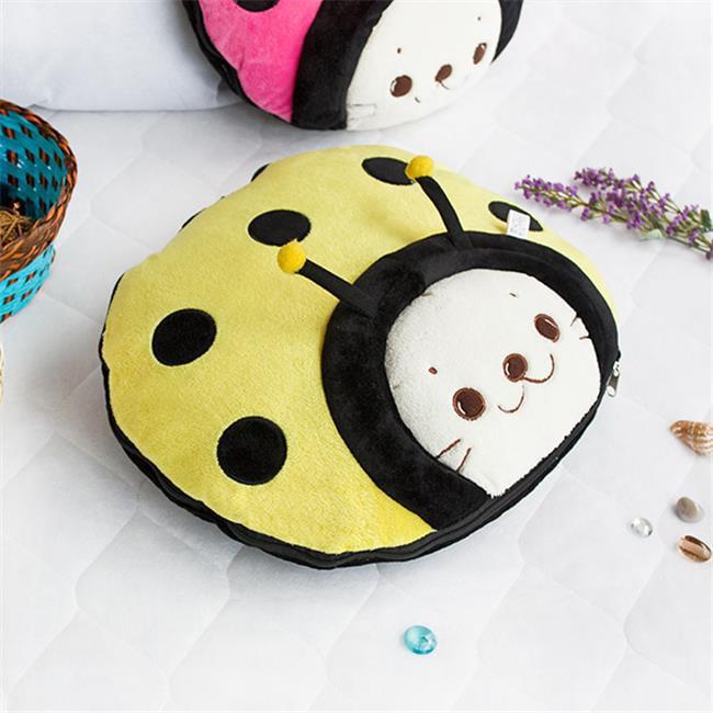 TB-CB005-RED-39.4by59.1 Sirotan - Ladybug Red Blanket Pillow Cushion / Travel Pillow Blanket