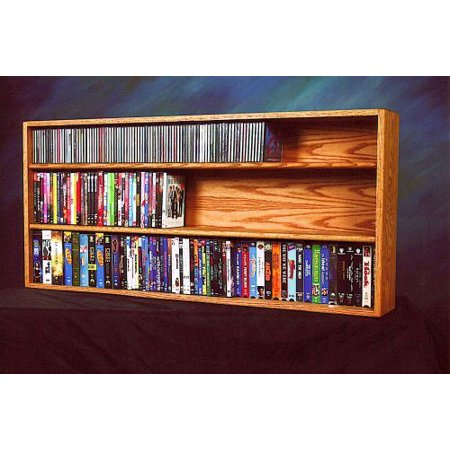 Solid Oak Wall or Shelf Mount for CD and DVD/VHS tape/Book Cabinet Model 313-4 W
