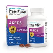 Bausch + Lomb PreserVision AREDS Eye Vitamin & Mineral Supplement Tablets, 120 Count Bottle (Soft Gels)