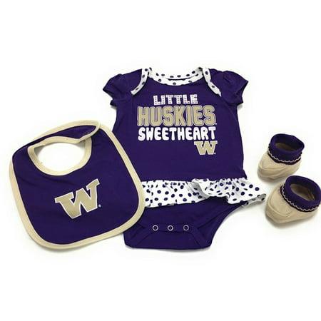 Gen 2 Baby Washington Huskies Little Sweet Bib Bootie   Bodysuit Set