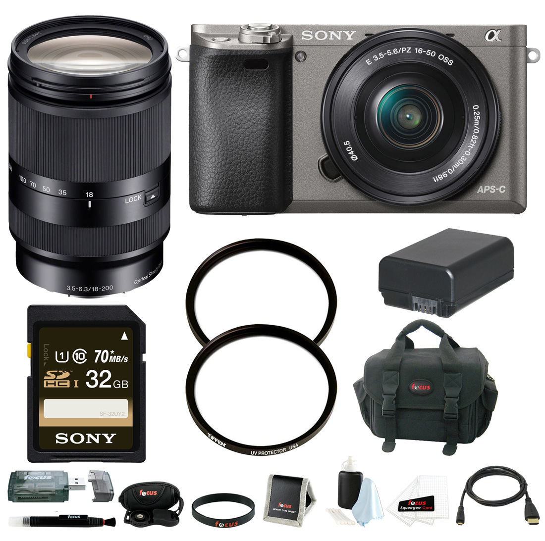Sony Alpha A6000 Camera w/ 16-50mm & 18-200mm Lens Accessory Bundle - Graphite