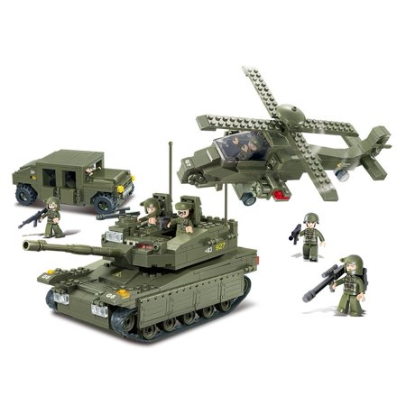 US Army K-1 Tank & Hind Helicopter & Hummer Squad Military Vehicle Building Blocks Educational Bricks Toy - Top Educational Toys For 1 Year Olds