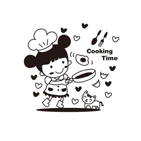 babydream1 Cartoon Little Girl Cooking Wall Decals Restaurant Kitchen PVC Waterproof Sticker Home Shop Removable Wallpaper - image 1 de 9