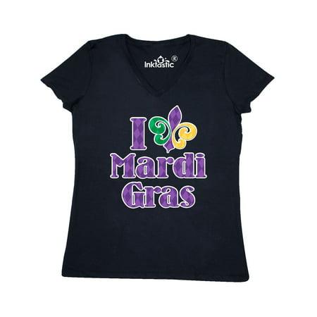 I Love Mardi Gras Women's V-Neck T-Shirt](Mardi Gras Fashions For This Year)