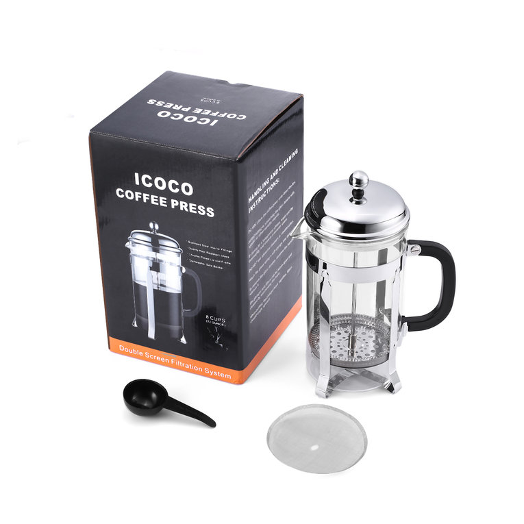 ICOCO 1L Heat Resistant Glass Double-screen Stainless Steel Filter Coffee Press