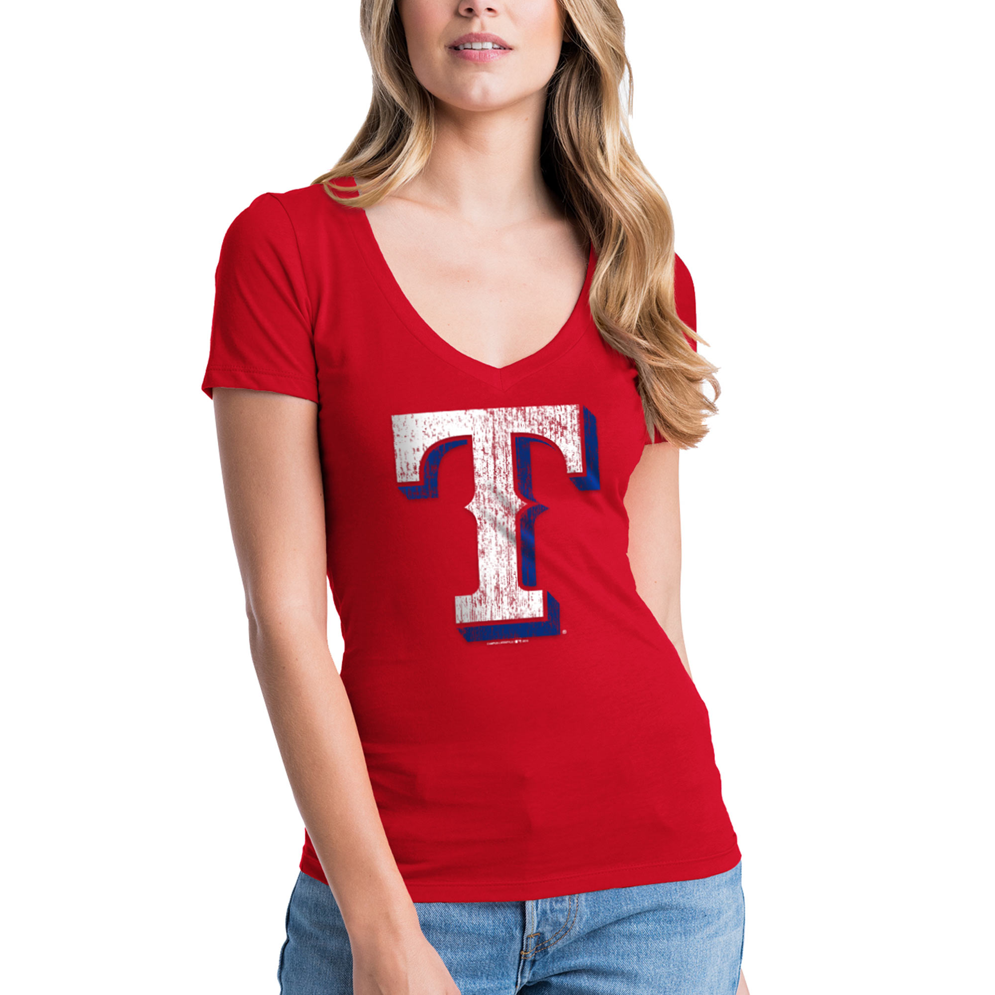 Texas Rangers New Era Women's V-Neck T-Shirt - Red
