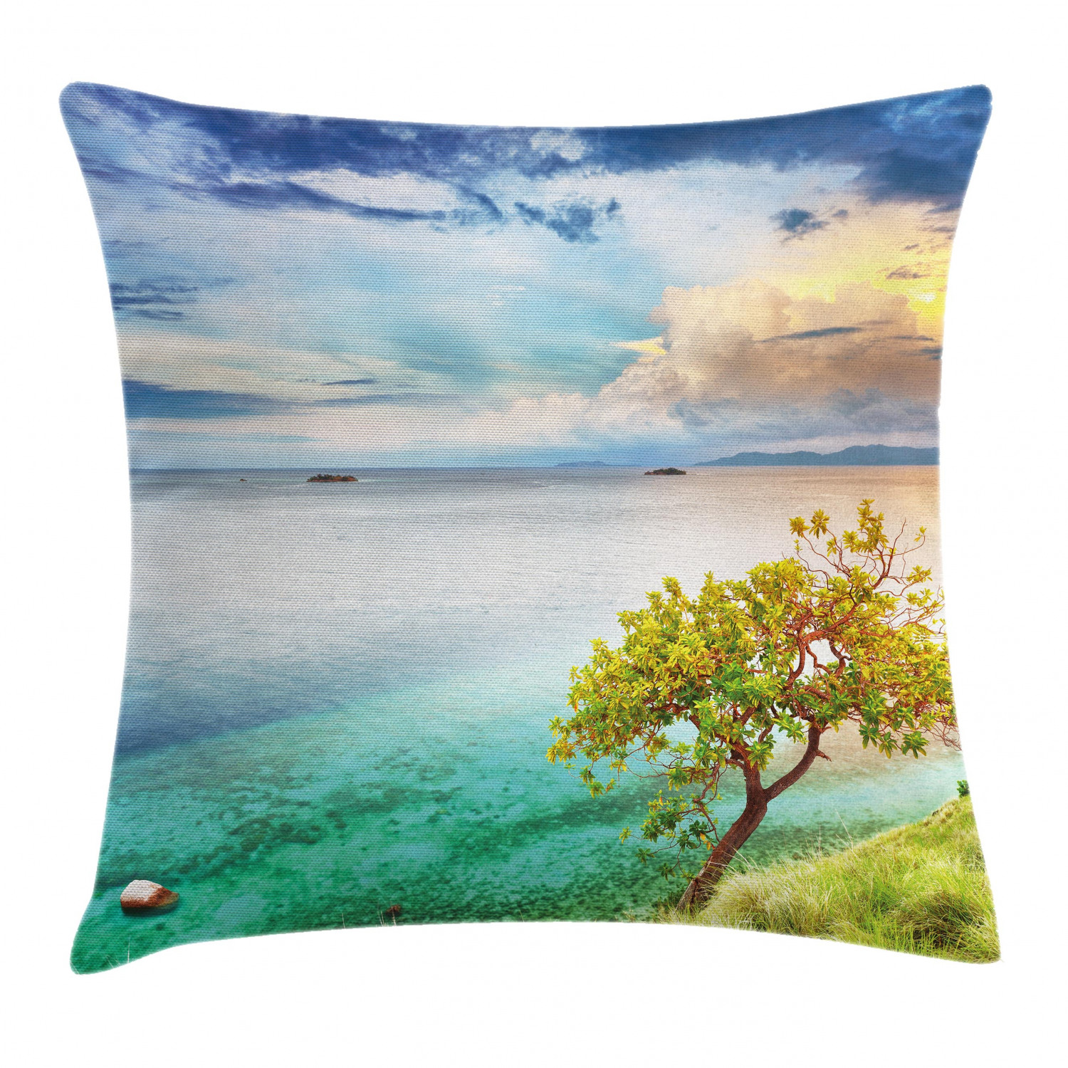 Scenery Throw Pillow Cushion Cover Sea Wiev Landscape Sunset Dawn Beach Abandoned Island Art Print Image Decorative Square Accent Pillow Case 20 X 20 Inches Aqua Turquoise And Green By Ambesonne