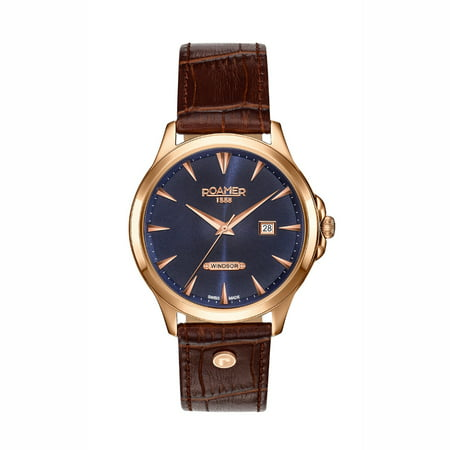 Roamer Men's Quartz Analog Display Rose Gold Case Blue Dial Brown Leather Strap (Dial Brown Alligator)