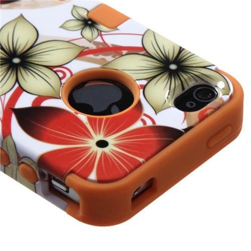 Insten Hibiscus Flower Romance/Orange TUFF Hybrid Rugged Hard Shockproof Case For iPhone 4/4S