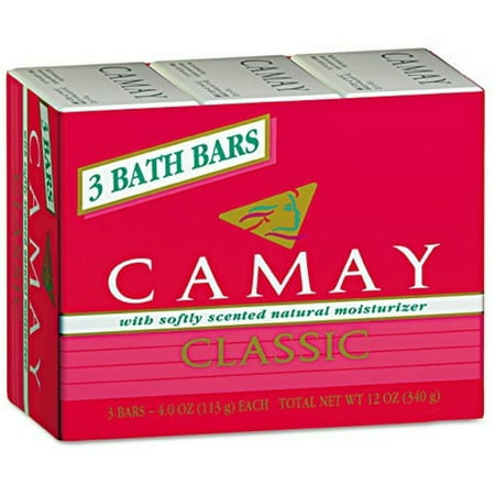 Camay Classic Bath Bar Soap, Softly Scented Natural Moisturizer 4 oz, 3 ea