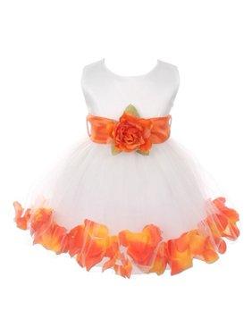 8b406f23a54 Product Image Baby Girls Ivory Orange Floral Petals Organza Sash Flower  Girl Dress 6-24M