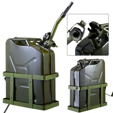 5 Gallon 20L Gas Jerry Can Fuel Steel Tank Military Green w/ Holder New ()