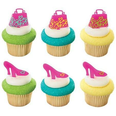 Leopard Print Purse and Shoe Cupcake Picks - 24 - Shoe Cupcakes