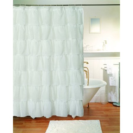 Gee Di Moda Gypsy Ruffled Shower Curtain White 70  Wide X 72  Long