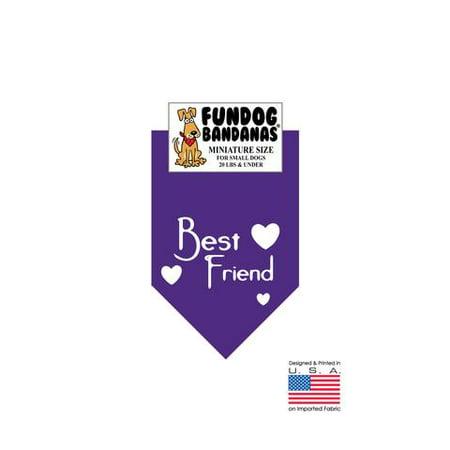 MINI Fun Dog Bandana - BEST FRIEND - Miniature Size for Small Dogs under 20 lbs, purple pet