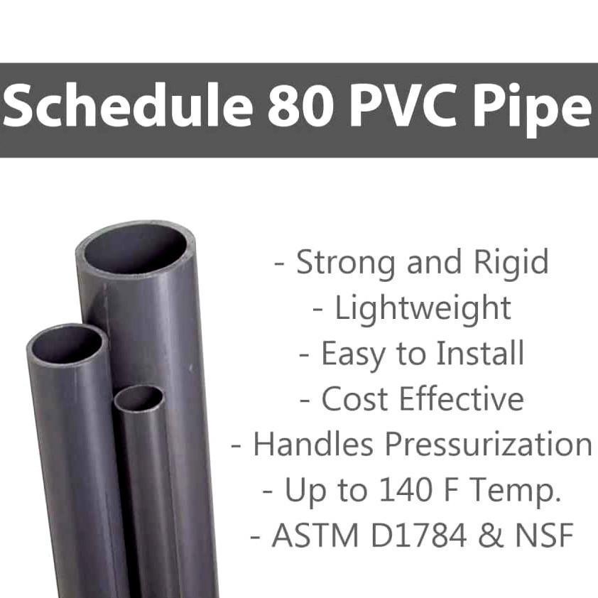 3 FT .5 PVC Premium Industrial PVC Pipe Schedule 80 Grey 1//2 Inch Grey
