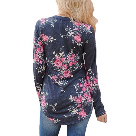 Womens Long Sleeve Floral Print T Shirts Casual Striped Blouse Tops