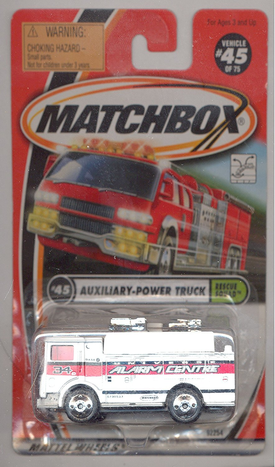 1999-45 75 Rescue Squad WHITE Auxiliary-Power Truck 1:64 Scale, 1:64 Scale By Matchbox by