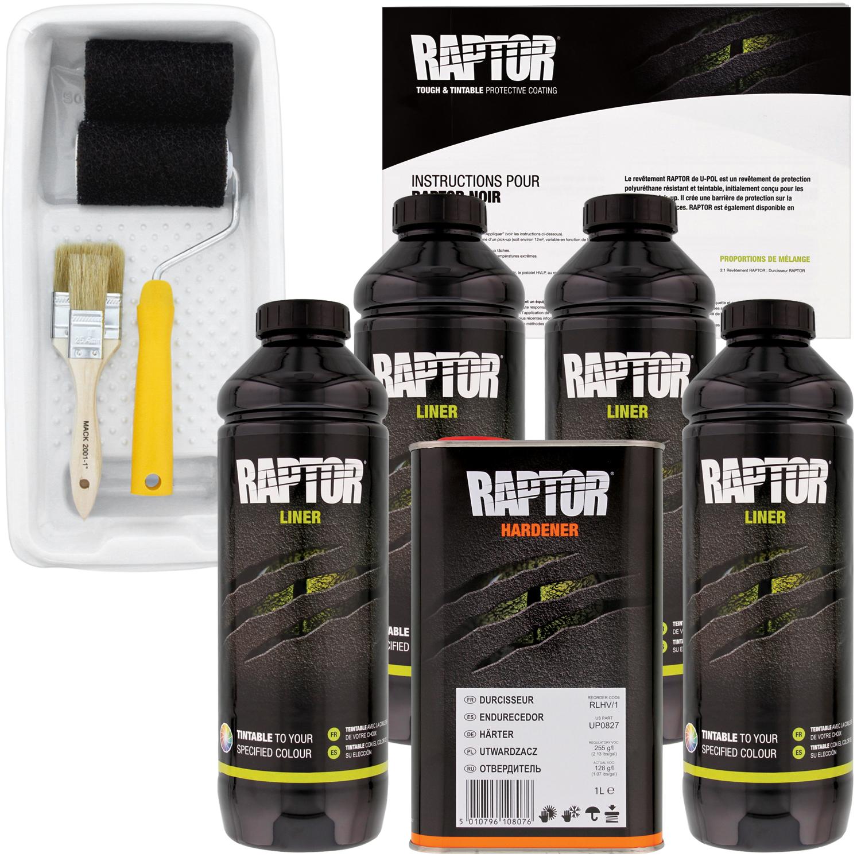 Raptor Tintable Urethane Spray-On Truck Bed Liner Kit,Tray & Brush, 4 Liters