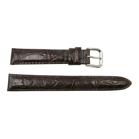 - Genuine Leather Crocodile Grain 18mm Chestnut Watch Strap