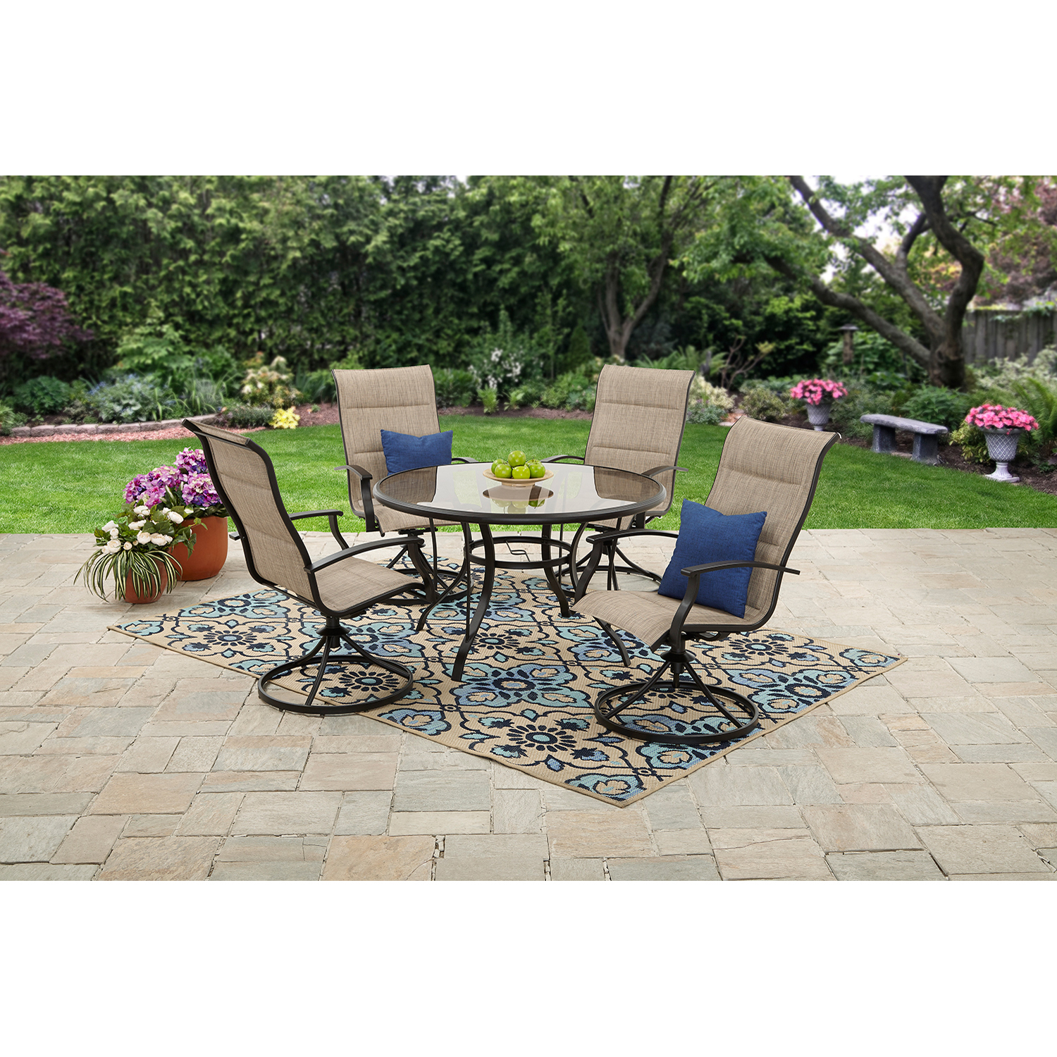 Mainstays Highland Knolls Padded Sling 5 Piece Patio Dining Set    Walmart.com