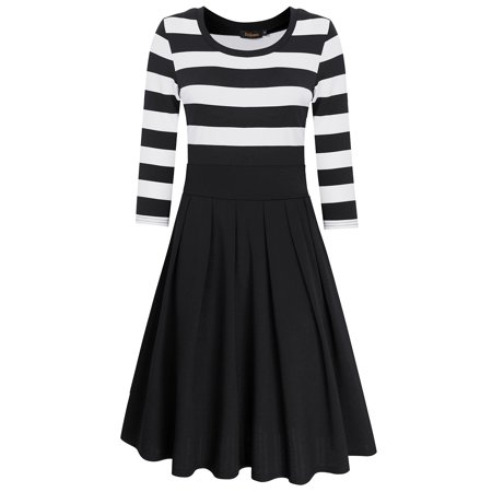LeadingStar Women's Stripe Scoop Neck Short 3/4 Long Sleeve Casual Swing Modest Dresses Black
