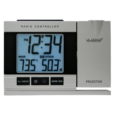 La Crosse Technology Radio Controlled or Manual Projection Alarm Clock with -