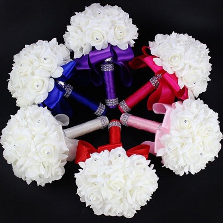 New Wedding Bouquet Crystal Pearl Sequin Bridal Bridesmaid Rose Foam Flower