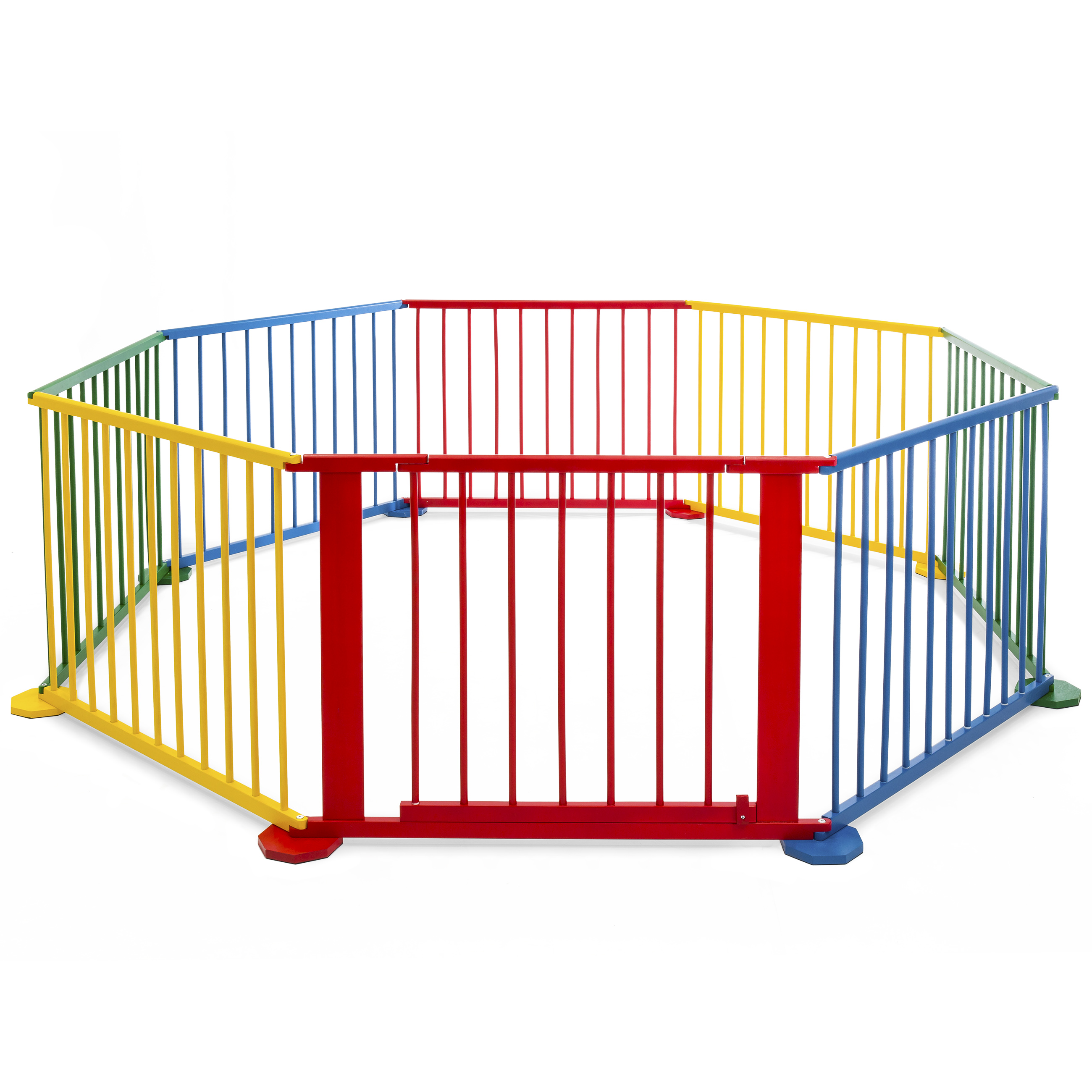 Best Choice Products 8 Panel Multicolored Wooden Baby Playpen