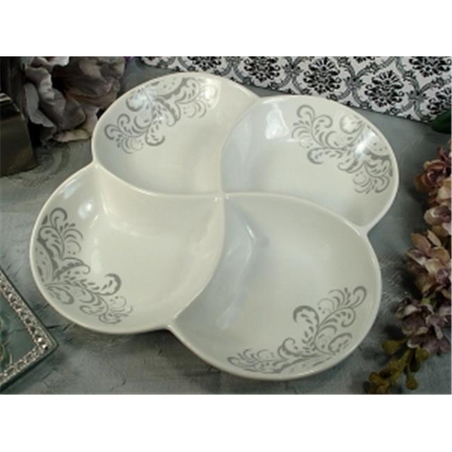 DLusso Designs A135 Porcelain 4 Section Dish Grey Damask, Pack Of - 2.