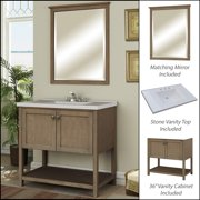 Miseno MVAN36COM 36in Bathroom Vanity Set - Cabinet, Stone Top and Mirror Included