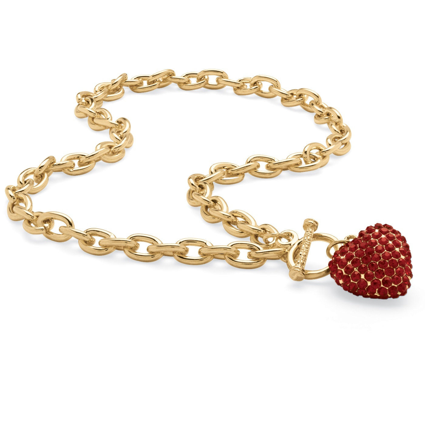 Crystal Heart Charm Birthstone Toggle Necklace in Yellow Gold Tone - January- Simulated Garnet