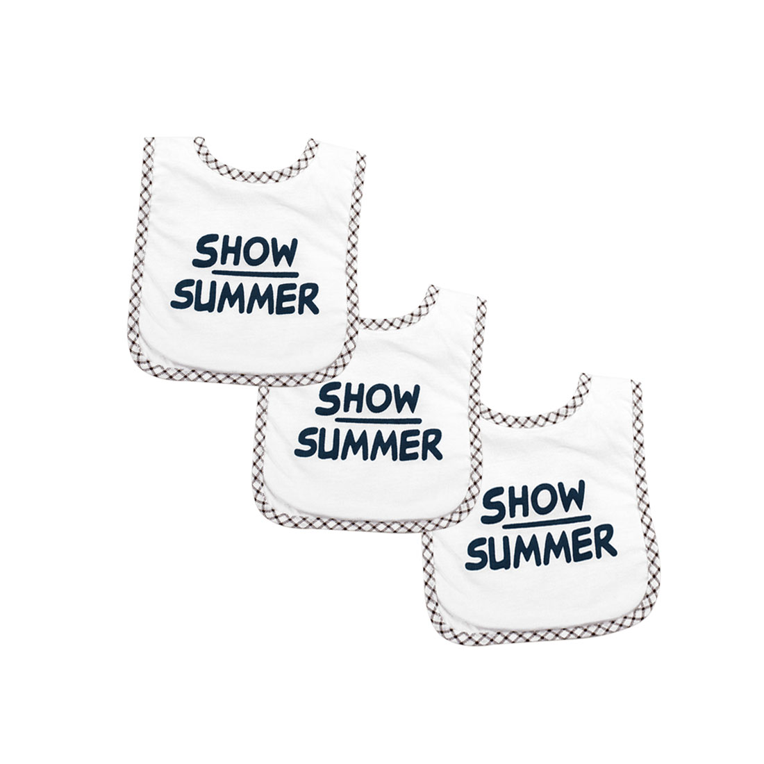 Tasharina Infant Letter Prints 3 Pack Teething Bib White